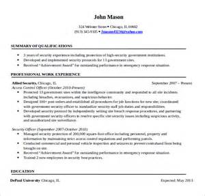 security resume templates sle security resume 11 free documents in pdf word