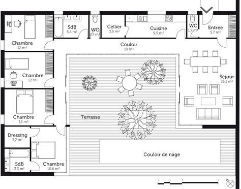 plan maison 6 chambres plain pied plan maison plain pied en u avec piscine ventana