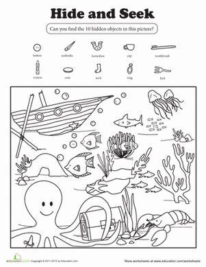 hide and seek worksheet education 676 | hide seek animals nature coloring