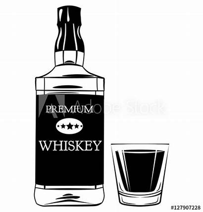 Whiskey Bottle Shot Glass Vector Alcohol Drink