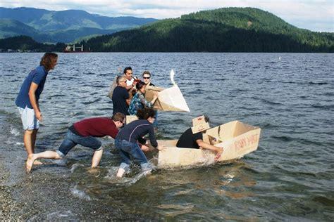 Cardboard Boat Construction by Cardboard Boat Building Challenge On Team Building