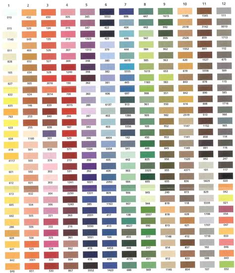 embroidery thread colors embroidery color chart 171 embroidery origami