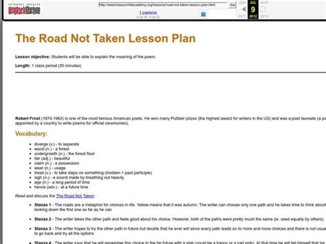 the road not taken lesson plan for 9th 12th grade