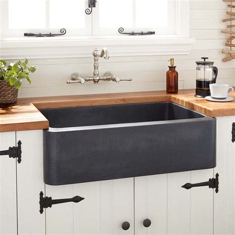 hammered copper farmhouse kitchen sinks rectangle hammered copper sink signature hardware 6976
