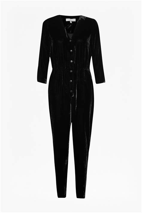 black velvet jumpsuit connection jet velvet jumpsuit in black lyst