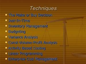 Cost  U0026 Management Accounting Techniques