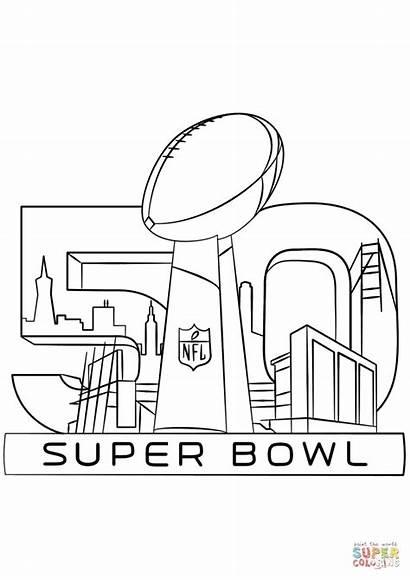 Bowl Coloring Super Pages Trophy Broncos Nfl