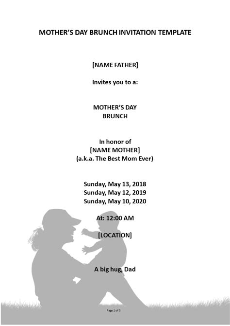 mothers day event invitation templates