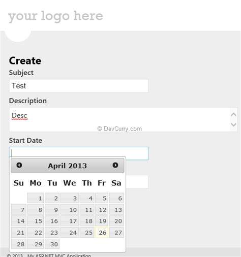 Datepicker Html Template by Custom Templates Data Annotations And Ui Hints In Asp Net Mvc