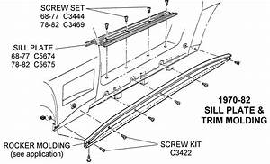 1970-82 Sill Plate Trim Molding - Diagram View