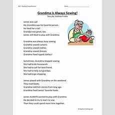 Reading Comprehension Worksheet  Grandma Is Always Sewing
