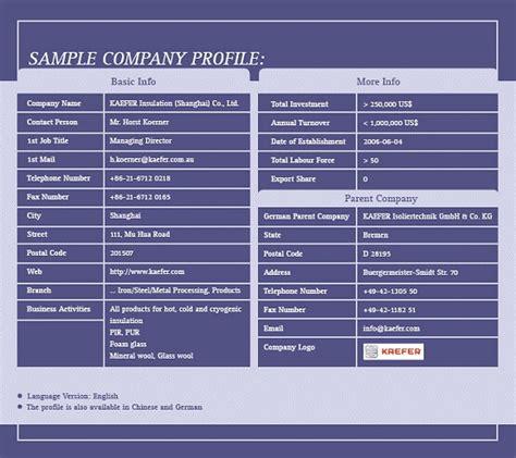 company profile template formfactory