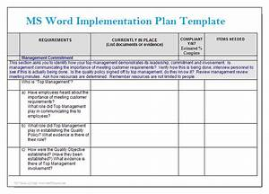 ms word implementation plan template microsoft word With process implementation plan template