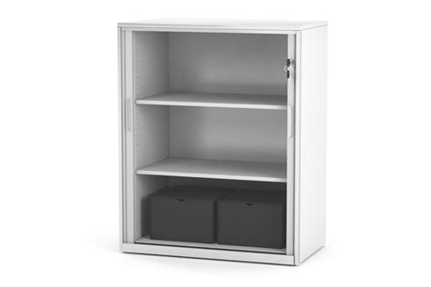 White Metal Cabinet by Tambour Sliding Door Storage Cabinet Metal White 1025h X 900w