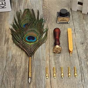 Antique Peacock Feather Quill Dip Pen with 5 pcs Pen tips ...
