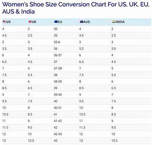 C Vs F Conversion Chart What Is The Average Shoe Size For A Woman Quora