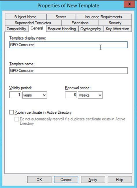 server  configuration certificate templates