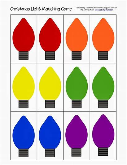 Christmas Matching Printable Lights Preschool Clipart Activity
