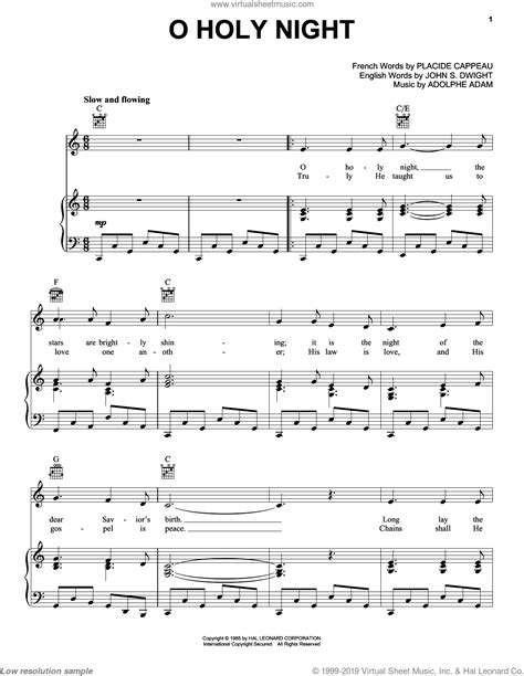 Below is a low resolution version of o holy night for online viewing. Adam - O Holy Night sheet music for voice, piano or guitar