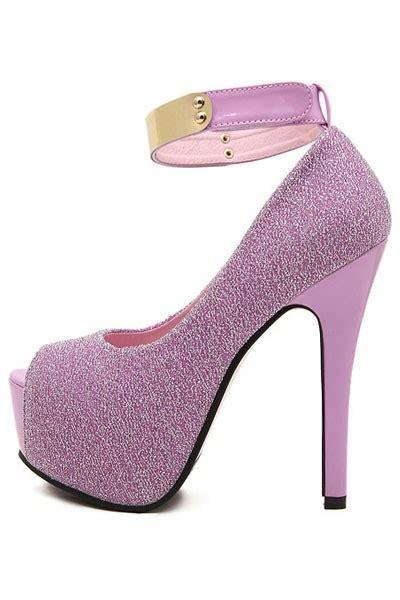 Light Purple Heels by Light Purple Faux Pu High Polished Ankle Platform