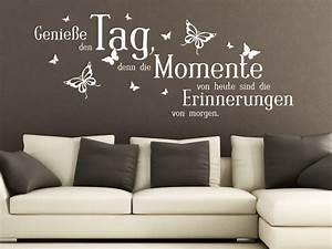 Sprüche Für Die Wand : wandtattoo genie e den tag mit schmetterlingen wandtattoo de ~ Frokenaadalensverden.com Haus und Dekorationen