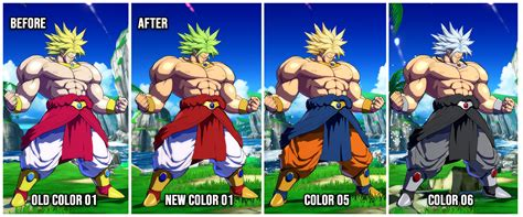 broly recolors dragon ball fighterz skin mods