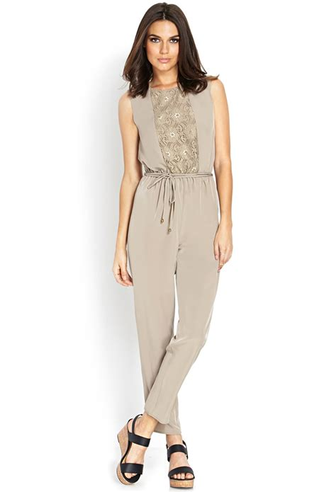 jumpsuit forever 21 forever 21 contemporary woven tie back jumpsuit in gray lyst