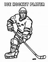 Hockey Coloring Player Winter Sport Season Print Netart Play sketch template
