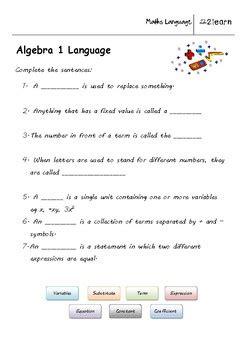 math language algebra 1 worksheet for 9 16 year olds tpt