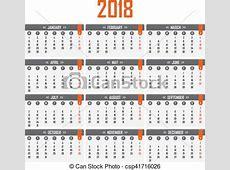 Semana, começa, calendário, 2018, segundafeira