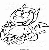 Devil Outline Cartoon Coloring Pitchfork Drawing Candy Boy Sack Carrying Vector Sketch Template Getdrawings sketch template