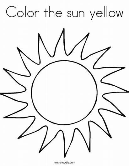 Coloring Sun Yellow Twistynoodle Worksheet Pages Ll