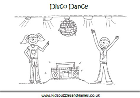 disco dance colouring page kids puzzles  games