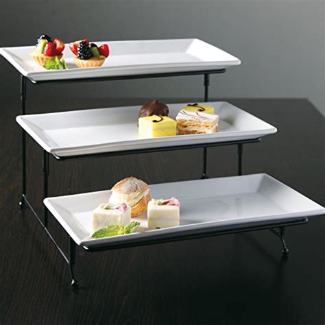 gibson elite rm gracious dining  tier rectangle plate set ware  metal stand