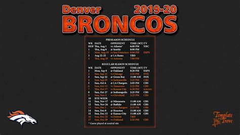 denver broncos wallpaper schedule