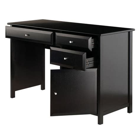 delta office writing desk with storage in white black or