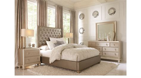 Sofia Vergara Bedroom Collection by Gray 5 Pc Bedroom Upholstered Contemporary