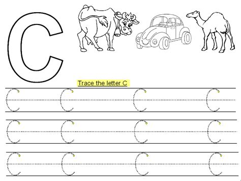 printable letters to trace trace letter c printable kiddo shelter 27913