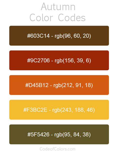 autumn color palette fall hex and rgb color codes