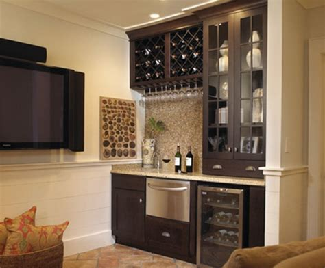 Tile Granite Flooring With Wet Bar Cabinets And