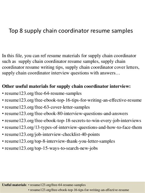 Planner Resume For Supply Chain by Top 8 Supply Chain Coordinator Resume Sles