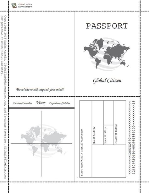 Passport Template Free Printable Passport Book When Image Results