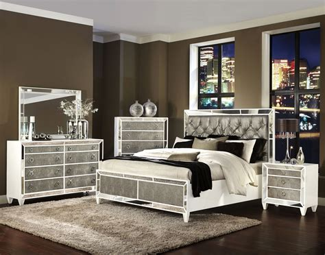 Bedroom Ls Glass by Glass Bedroom Set Pearlizzed White Wood Glass 2pc