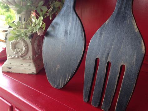 Fork spoon wall decor and related products have become an unmissable aspect of a comfortable lifestyle, remaining true to. Large Wood Fork and Spoon, black, distressed, large, wall decor, yard art, kitchen decor ...