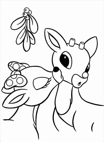 Reindeer Coloring Christmas Pages Rudolph Santa Nosed