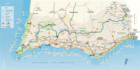 large detailed map  algarve  roads cities beaches