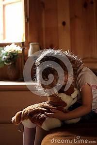 Sad Little Girl Hugging Teddy Bear Royalty Free Stock ...