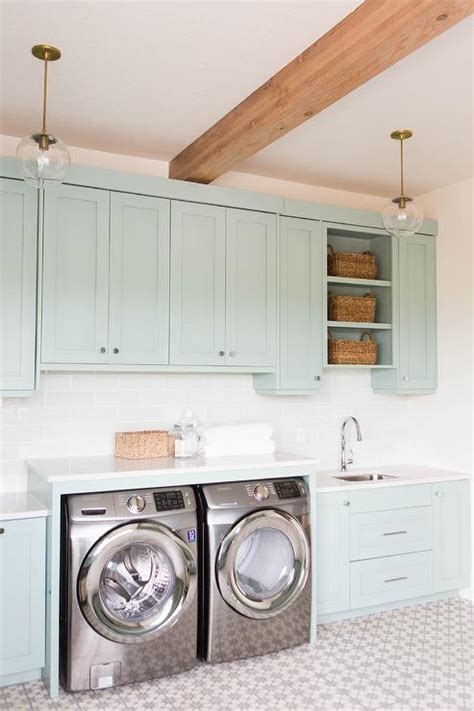 Green Laundry Room Cabinets  Transitional  Laundry Room