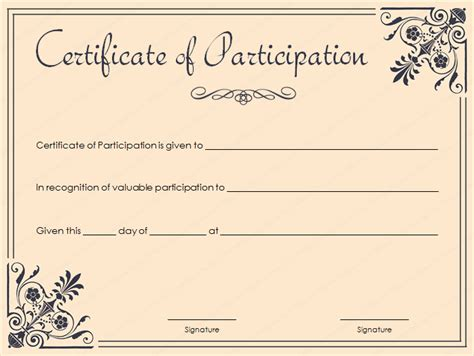 template for certificate of participation in workshop 15 formal certificate templates certificate templates
