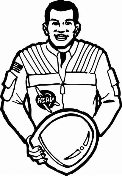Coloring Astronaut Helmet Space Put His Bucket
